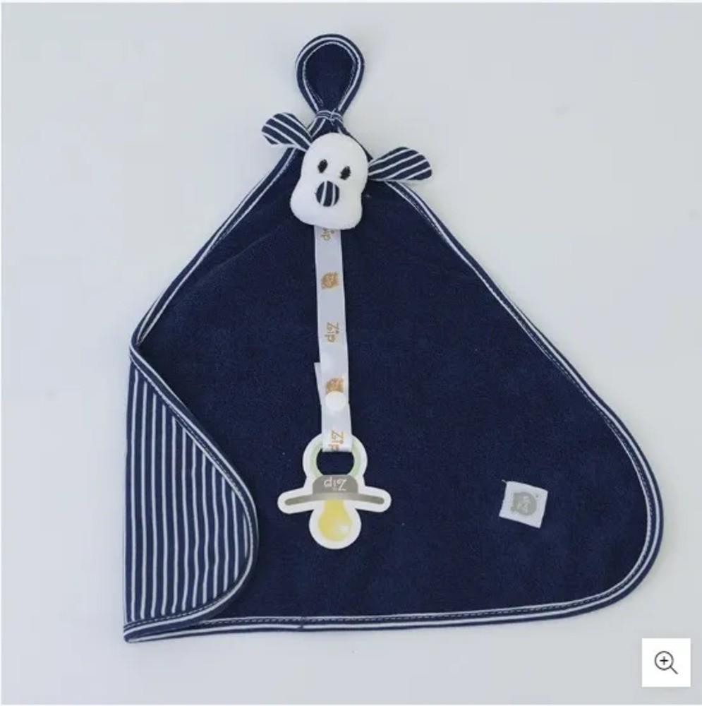 Naninha Para Bebê c/Prendedor De Chupeta Listrado Marinho Zip Toys