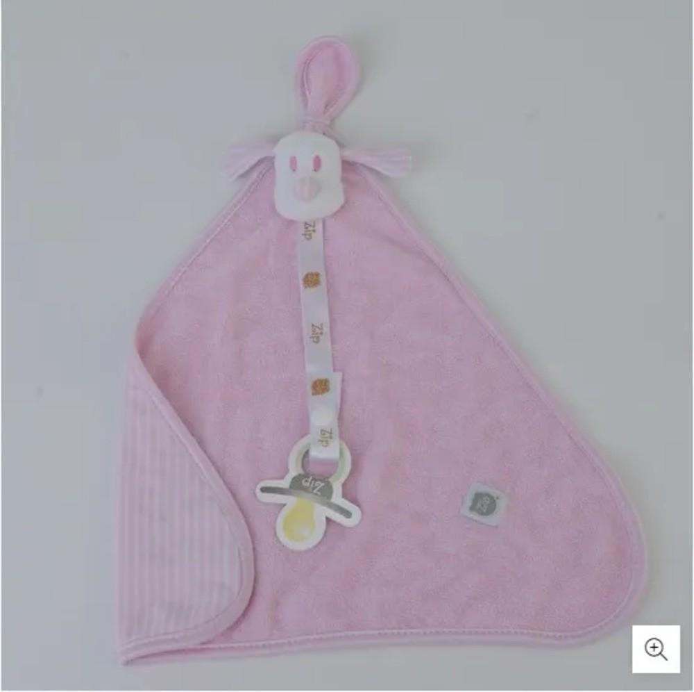Naninha Para Bebê c/Prendedor De Chupeta Listrado Rosa Zip Toys