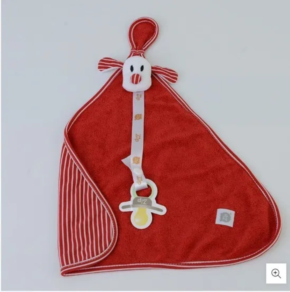 Naninha Para Bebê c/Prendedor De Chupeta Listrado Vermelho Zip Toys