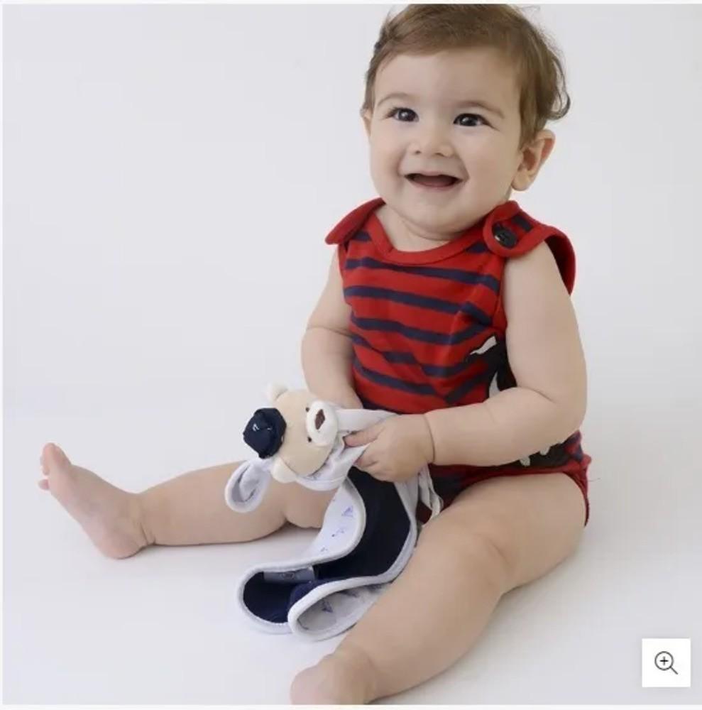 Naninha Para Bebê c/Prendedor De Chupeta Listrado Vermelho Zip Toys  - Encanto Baby