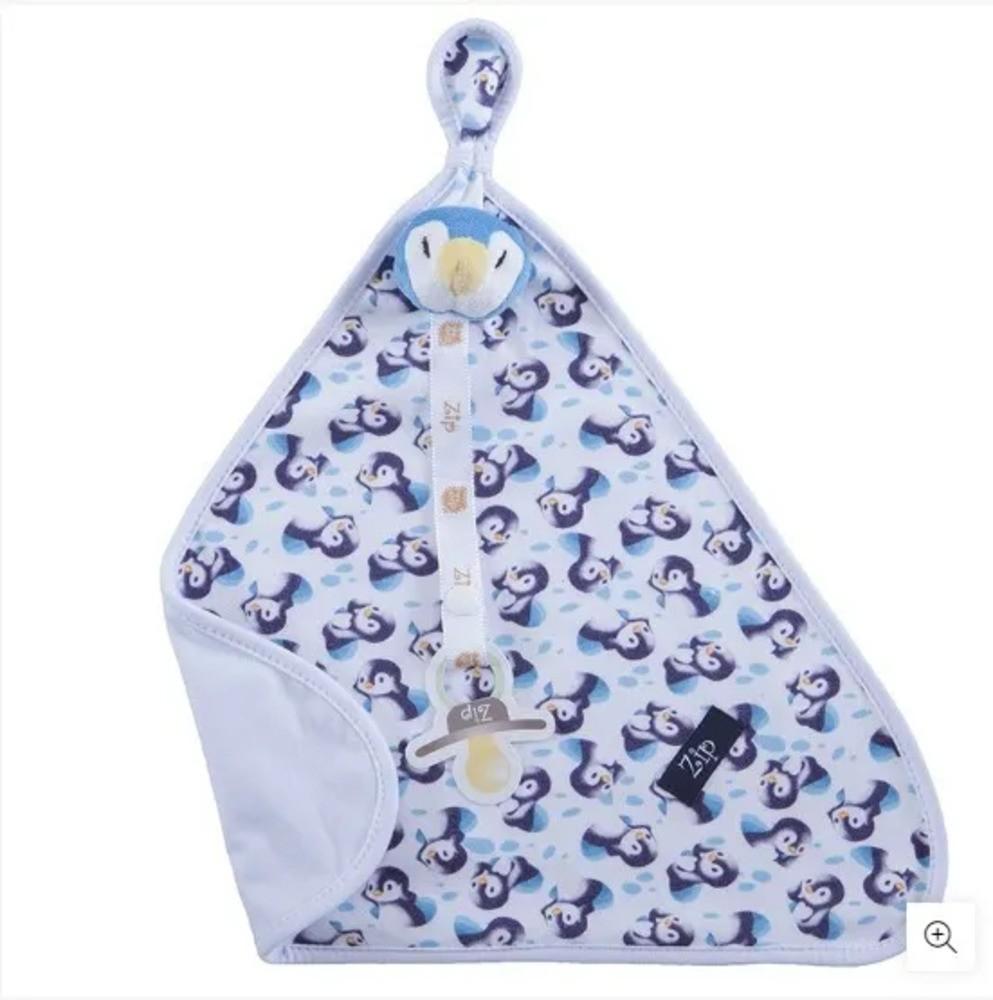 Naninha Para Bebê c/Prendedor De Chupeta Pinguim Zip Toys