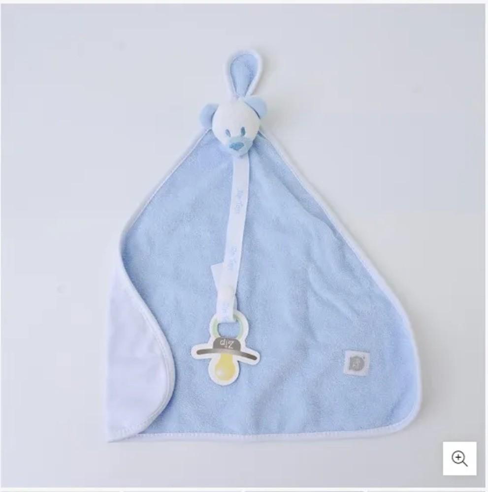 Naninha Para Bebê c/Prendedor De Chupeta Urso Azul Zip Toys