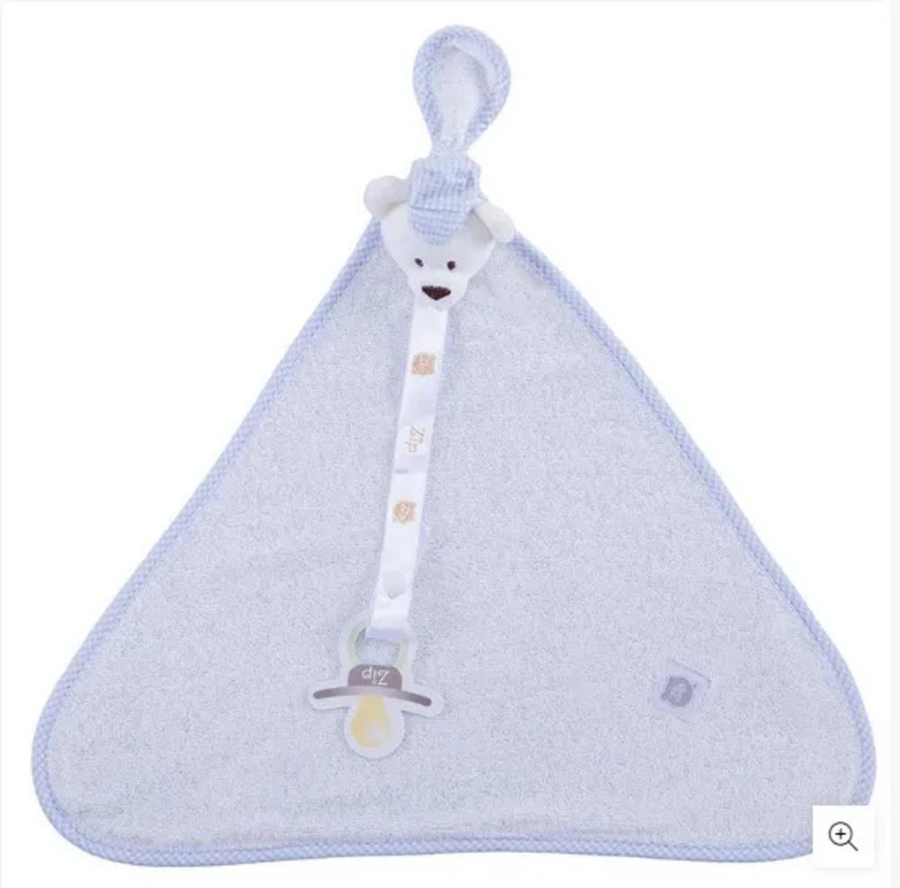 Naninha Para Bebê c/Prendedor De Chupeta Urso Boné Zip Toys