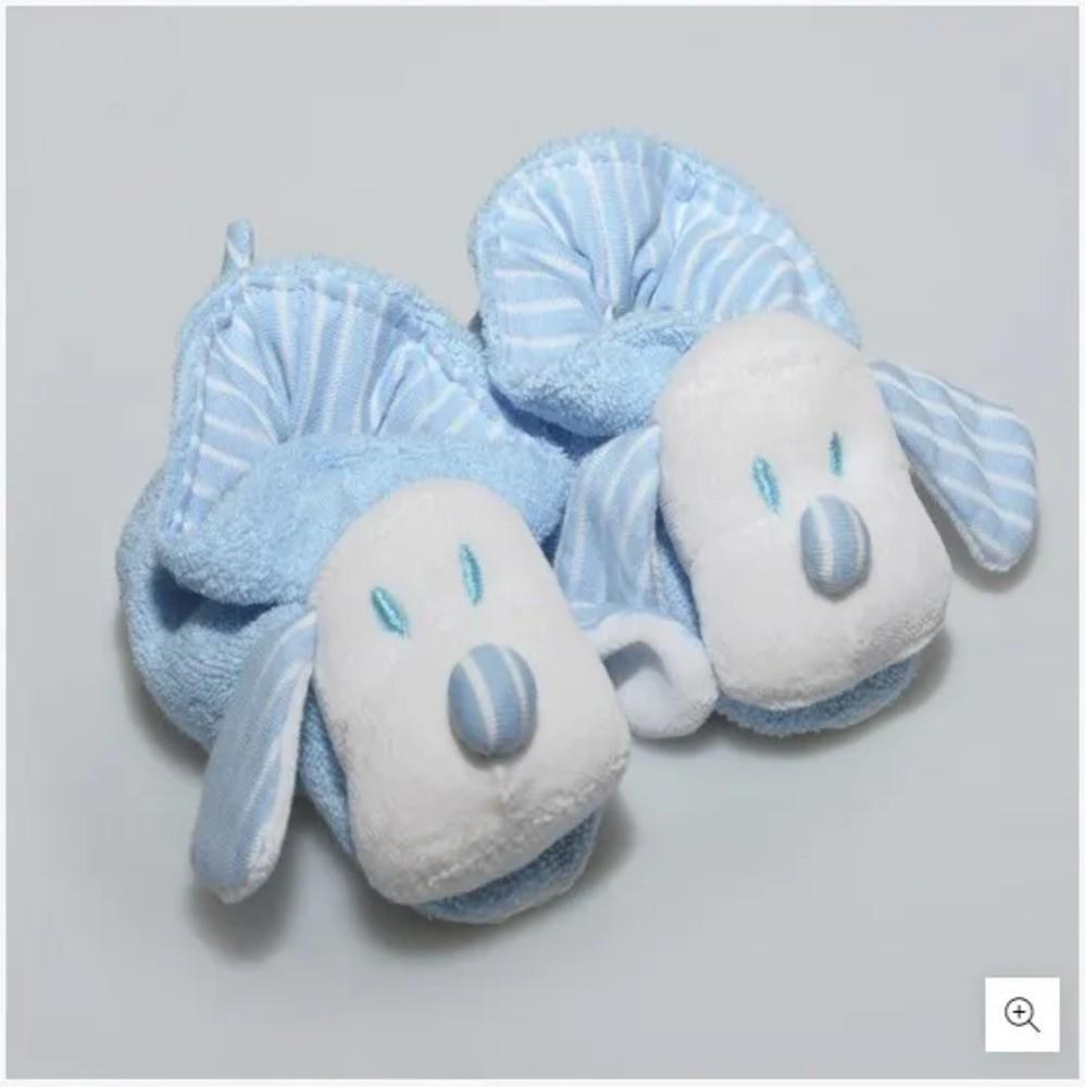 Pantufa Para Bebê Atoalhada Zip Toys Azul/Listrado RN