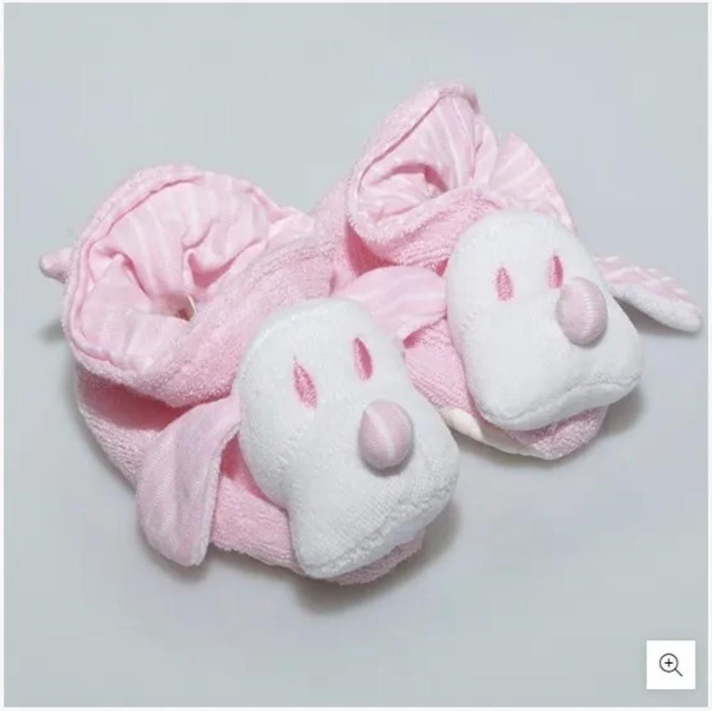 Pantufa Para Bebê Atoalhada Zip Toys Rosa/Listrado RN  - Encanto Baby