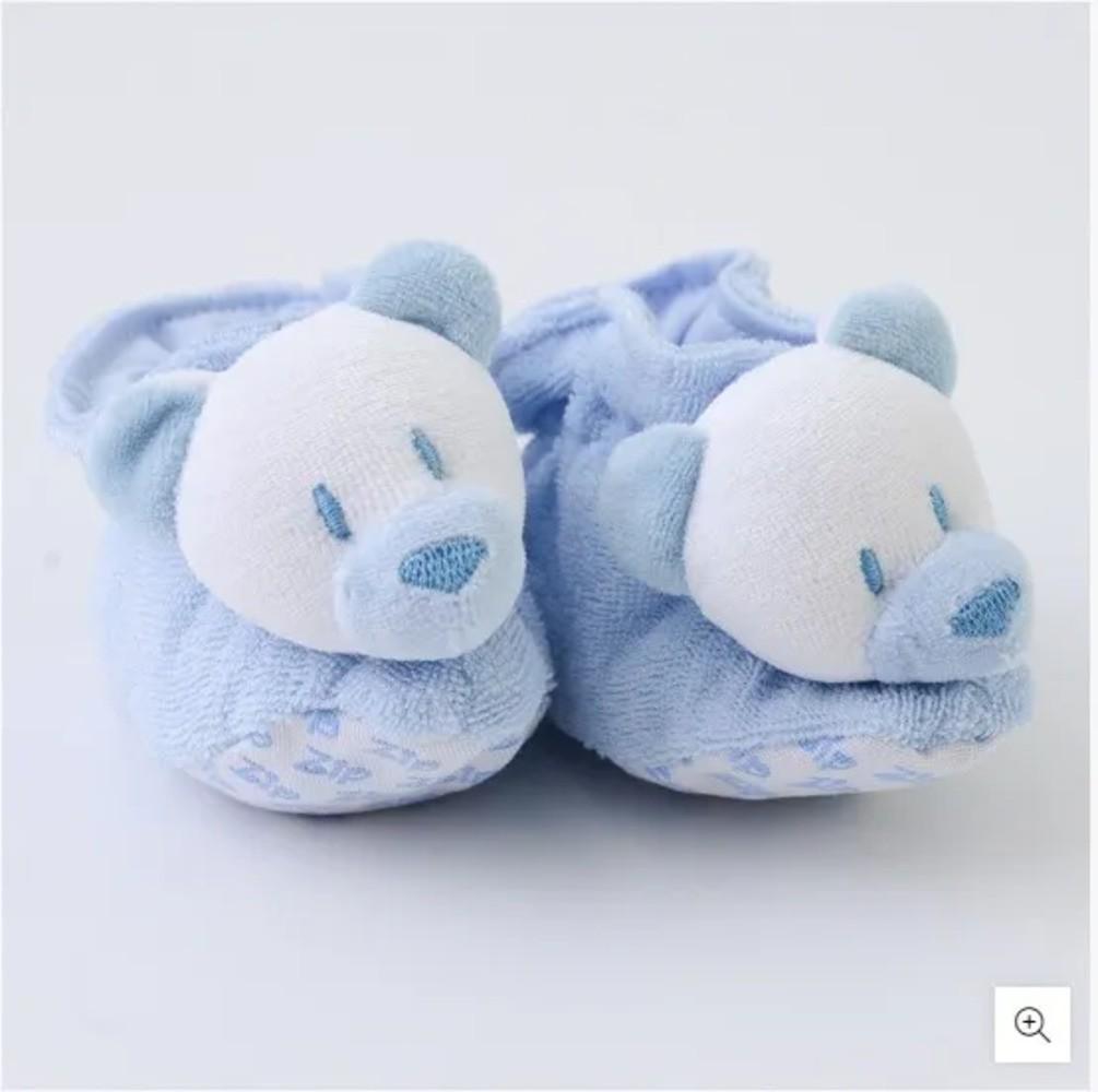 Pantufa Para Bebê Atoalhada Zip Toys Urso Azul P