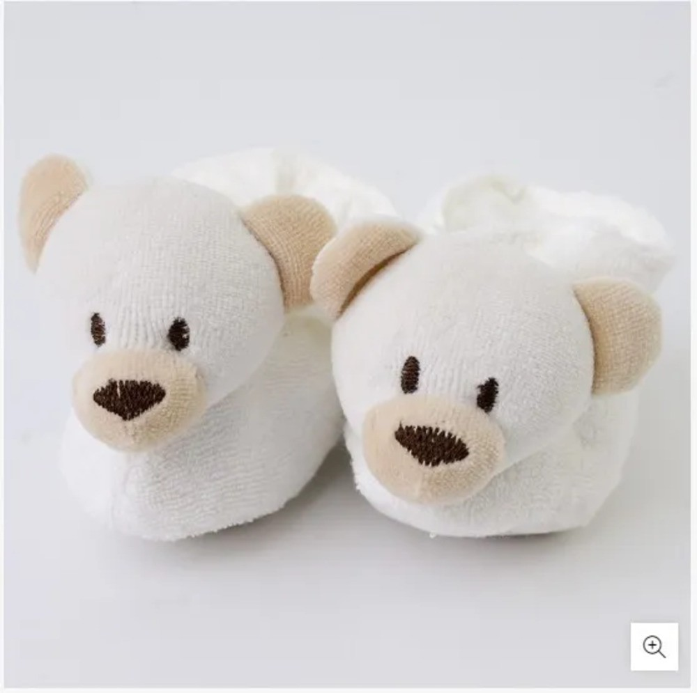 Pantufa Para Bebê Atoalhada Zip Toys Urso Bege RN