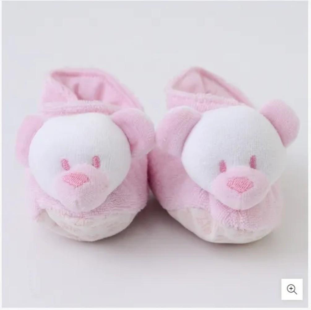 Pantufa Para Bebê Atoalhada Zip Toys Urso Rosa RN