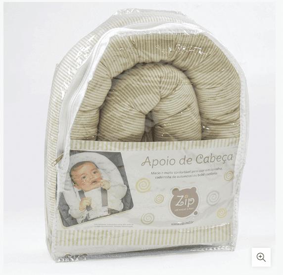 Protetor Bebê Conforto Carrinho Com Apoio De Cabeça Zip Toys Bege  - Encanto Baby
