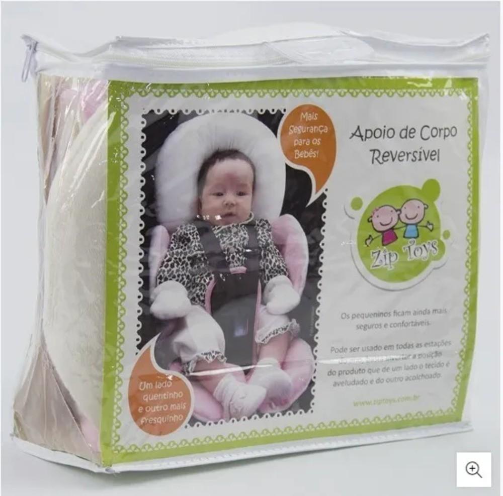 Protetor Reversível Bebê Conforto Carrinho Com Apoio Cabeça Rosa  - Encanto Baby