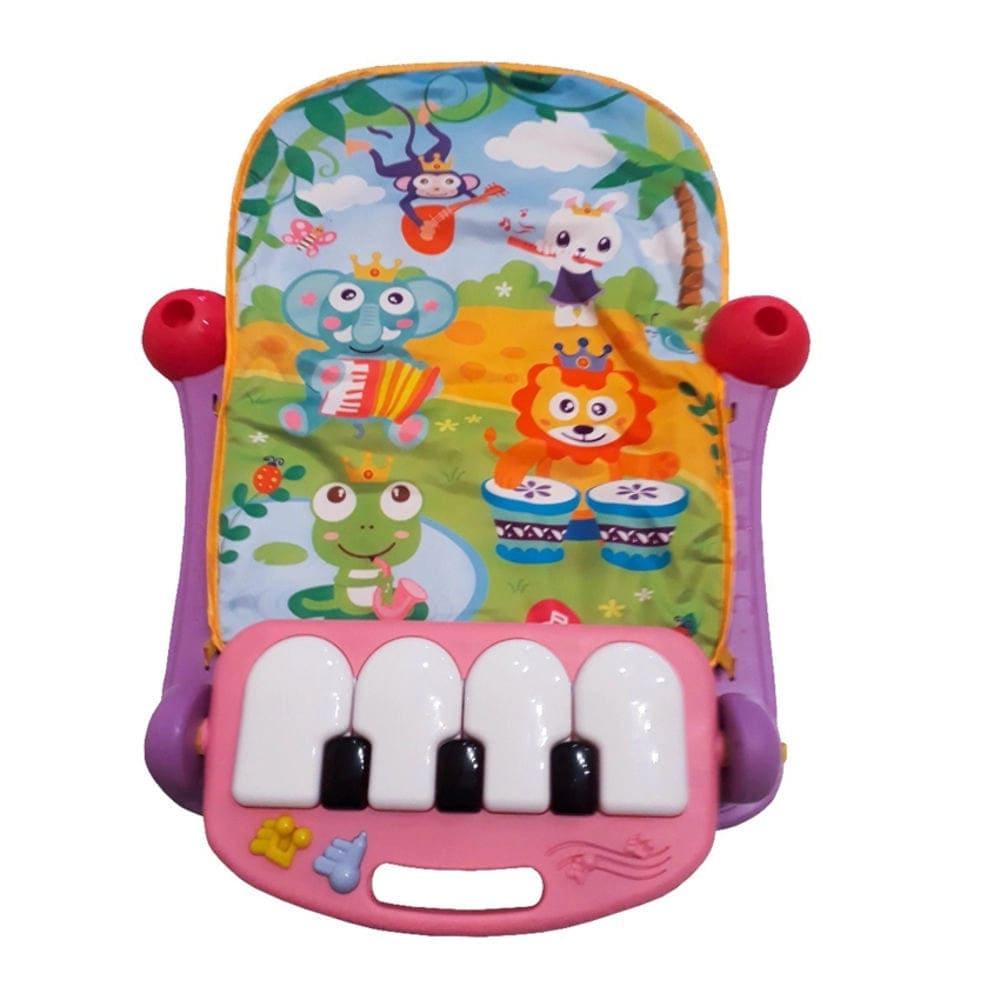 Tapete Atividade Infantil Acolchoado Piano Musical Happy Color Baby Rosa  - Encanto Baby