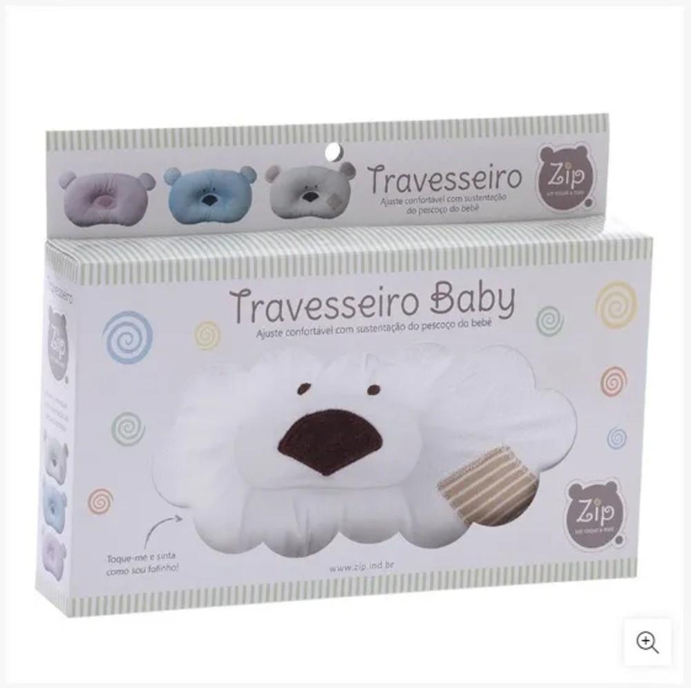 Travesseiro Para Bebês Ursinho Zip Toys Bege  - Encanto Baby