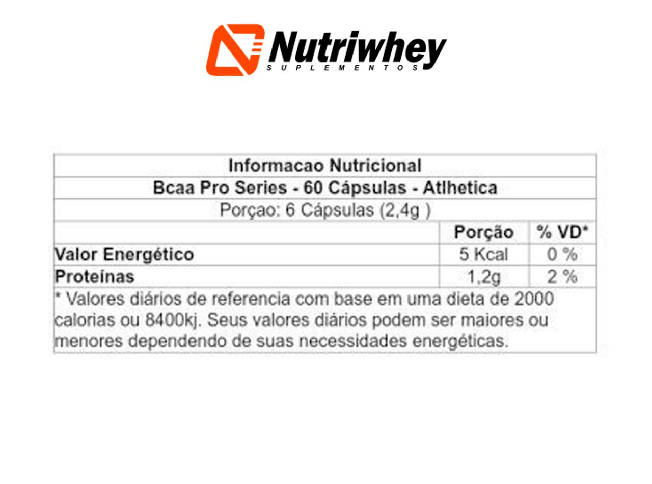 BCAA 2:1:1 | Atlhetica Nutrition | 60 Cápsulas