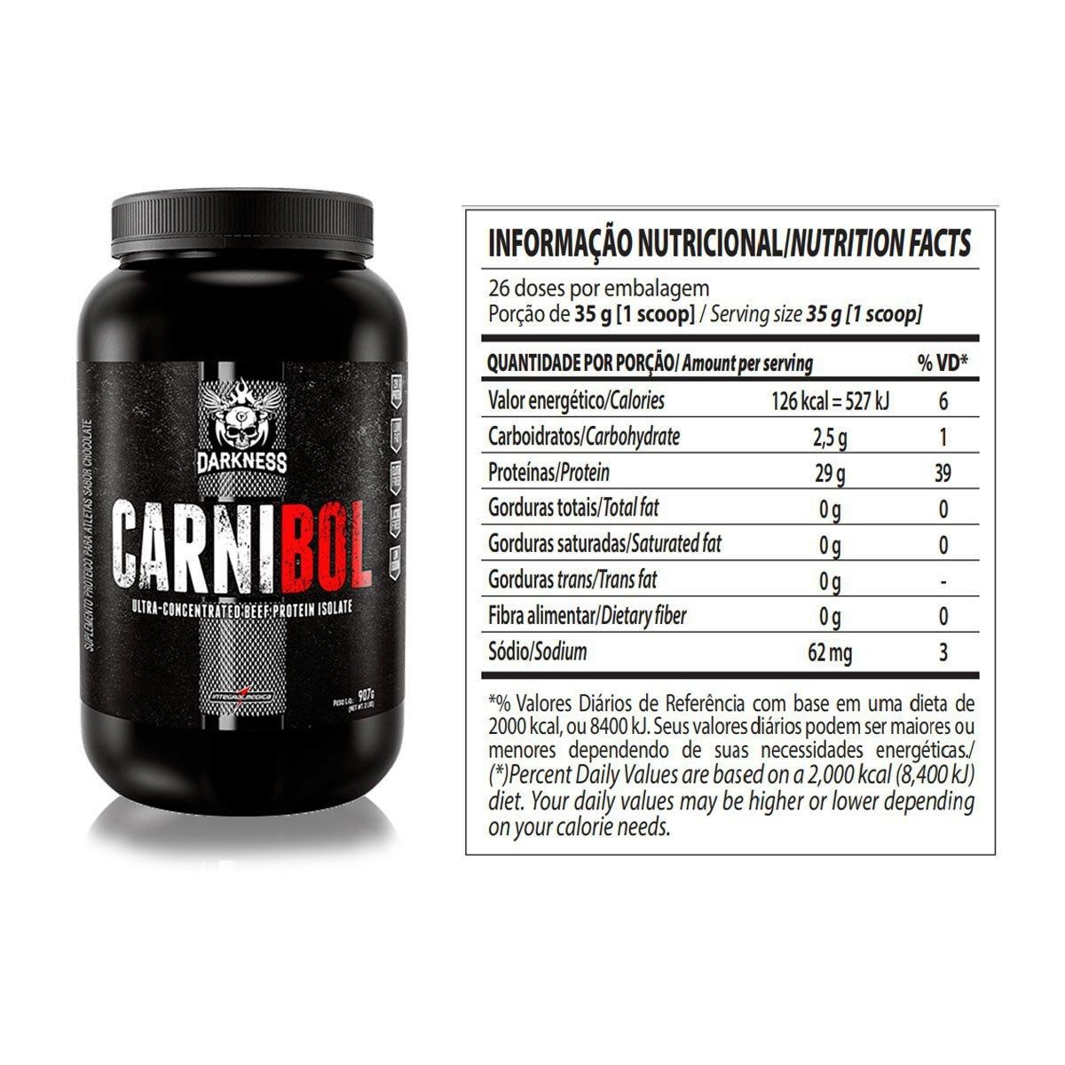 Carnibol Beef Protein Isolado | Darkness - Integral Médica | 907g