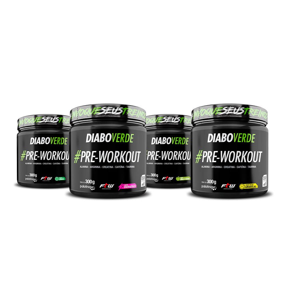 Diabo Verde #Pre-Workout Sabor Energético, Frutas Amarelas, Limão e Maçã Verde 300g - FTW
