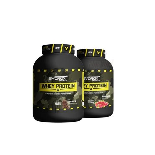 Kit Combo 2 Whey Protein Evorox 1Kg Morango Chocolate