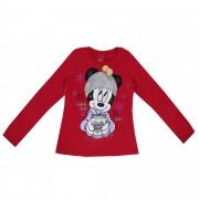 Blusa Cativa Estampa Glitter Minnie com Copo e Gorro com Pompom Decorativo - 4 ao 10