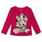 Blusa Cativa Estampa Glitter Minnie Sentada com Fone Ouvindo Música - 1 ao 3