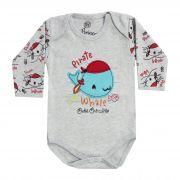 Body Bebê Brincalhão Bordado Baleia Pirata - Rn ao G