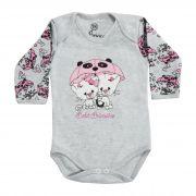 Body Bebê Brincalhão Bordado Gato, Hipopótamo e Elefante com Guarda-chuva - RN ao G
