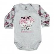 Body Manga Longa Bebê Brincalhão Bordado Gato, Hipopótamo e Elefante com Guarda-chuva - RN ao G