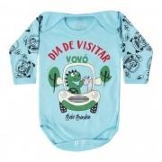 Body Manga Longa Bebê Brincalhão Frases Dia de Visitar a Vovó - RN ao M
