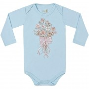 Body Manga Longa Kiko Baby Estampa Buquê de Flores - RN ao G