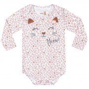 Body Kiko Baby Estampa Onça com Aplicação Laço - RN ao G