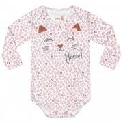 Body Manga Longa Kiko Baby Estampa Onça com Aplicação Laço - RN ao G