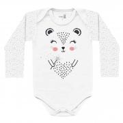 Body Kiko Baby Manga Longa de Suedine - Estampado Oncinha - RN ao G