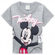 Camiseta Brandili Baby Meia Manga de Malha Estampa do Mickey - P ao G