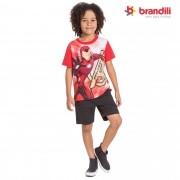Camiseta Meia Manga Brandili Homem de Ferro - 4  ao 10
