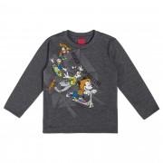 Camiseta Manga Longa Cativa Estampa Brilha no Escuro Mickey Patinete e Amigos Skate - 1 ao 3