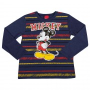 Camiseta Cativa Estampa Listras e Mickey - 4 ao 8
