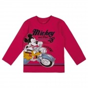 Camiseta Manga Longa Cativa Estampa Metalizada Mickey e Pluto Andando de Moto - 1 e 3