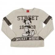 Camiseta Manga Longa Cativa Estampa Mickey Street 1928 com Detalhe Mangas - 4 ao 8
