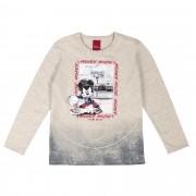Camiseta Manga Longa Cativa Estampa Relevo Mickey Jogando Basquete - 4 ao 10