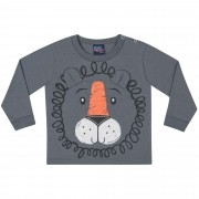Camiseta Manga Longa Kiko e Kika Estampa Leão - P ao G