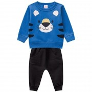 Conjunto Inverno Brandili Estampado Tigre Puff com calça Jogger em moletom - G