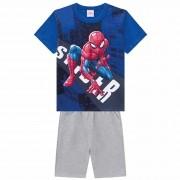 Conjunto Verão Brandili Camiseta Homem Aranha com Bermuda Moletinho - 4 ao 10