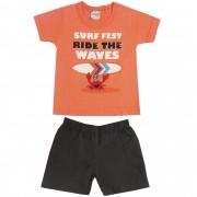Conjunto Verão Brandili Camiseta Surf Fest com Bermuda Sarja - P ao G