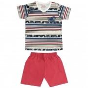 Conjunto Verão Brandili Camiseta Listrada Beach com Bermuda - P ao G