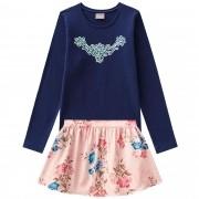 Conjunto Inverno Brandili Mundi Bordado com Shorts Saia Estampado Floral - 4 ao 10