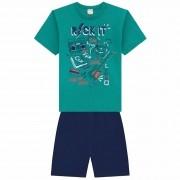Conjunto Verão Brandili Camiseta Rock com Bermuda Moletinho - 12