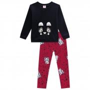 Conjunto Inverno Brandili - Blusão Estampado Urso com Aplicação pelo Orelha com Legging Ursos - 1 ao 3