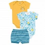 Conjunto Verão Kiko Baby Bodies Manga Curta e Shorts - Tigre - RN ao G