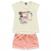 Conjunto Verão Kiko e Kika Blusa Flamingo e Shorts Tropical - 4 ao 10