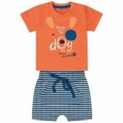 Conjunto Verão Kiko e Kika Camiseta e Bermuda - Dog Best Friend - P ao G