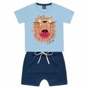 Conjunto Verão Kiko e Kika Camiseta e Bermuda - King Lion - 2 e 3