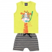 Conjunto de Verão Kiko e Kika Regata com Shorts - Girafinha - M